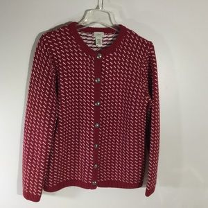 LL Bean M red/white heavy cotton wool sweater
